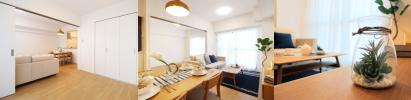 床とキッチンの異なる木目調が上手く調和、落ち着きと暖かみの融合した表情あるお部屋
