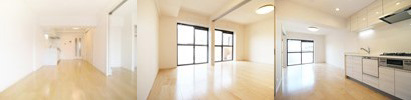 太陽光との相性抜群。白を基調とした清潔感溢れる一室