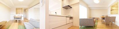 キッチンとフロアの調和の取れた色合い。落着きだけではなく安らぎももたらします